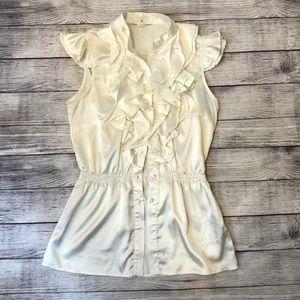 White silk satin tank blouse with ruffles - M